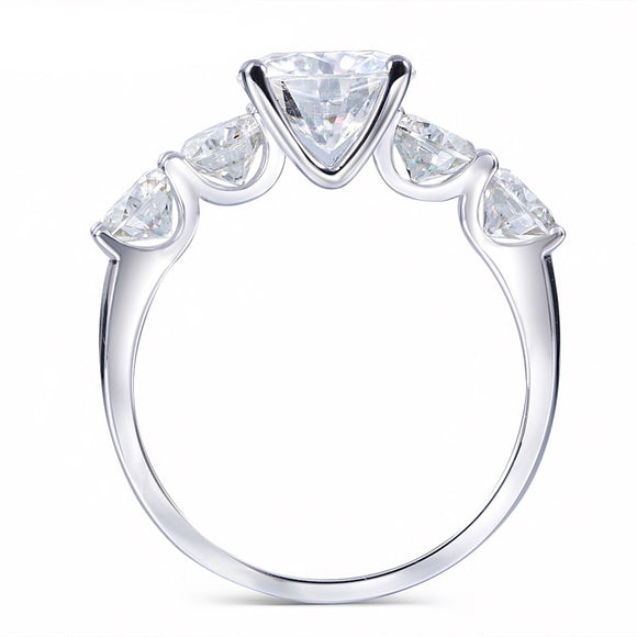 Round Cut Moissanite 5 stone Engagement Ring, Available in All Metals, Choose Your Stone Size