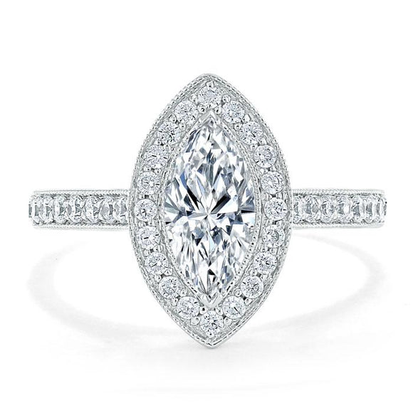 1.35ct Marquise Cut Moissanite Halo Engagement Ring, Tiffany Style,  Available in White Gold, Platinum, Rose Gold or Yellow Gold