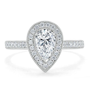 Lab-Diamond Pear Cut Engagement Ring, Classic Halo, Choose Your Stone Size and Metal