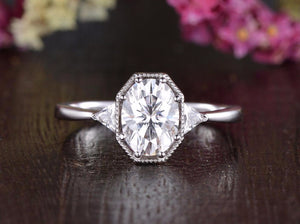 Oval Cut Moissanite Engagement Ring, Edwardian Design, Choose Your Stone Size & Metal
