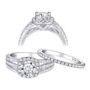 1.80ct Round Cut Engagement Ring, Bridal Ring Set, 925 Sterling Silver