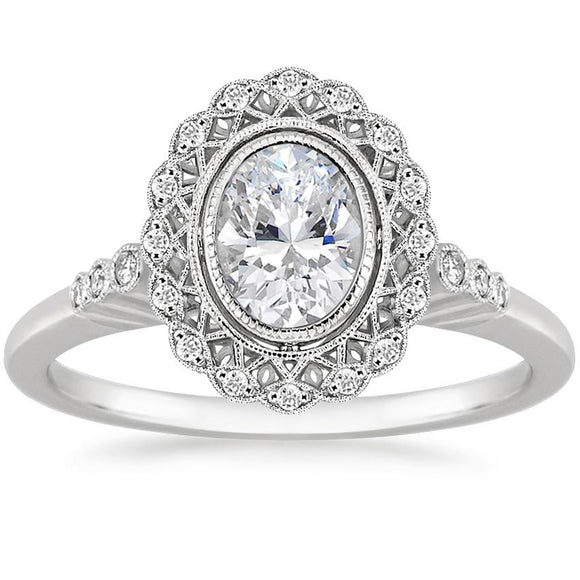 1.70ct Vintage Oval Cut Moissanite Halo Engagement Ring,  Available in White Gold, Platinum, Rose Gold or Yellow Gold
