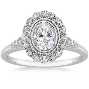 Lab-Diamond, Vintage Oval Cut Halo Engagement Ring, Choose Your Stone Size and Metal