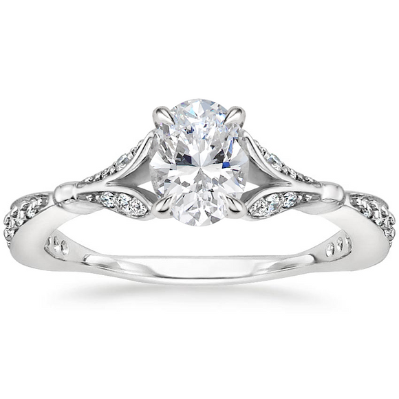 1.35ct Vintage Oval Cut Moissanite  Engagement Ring,  Available in White Gold, Platinum, Rose Gold or Yellow Gold