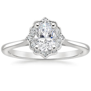 1.25ct Vintage Oval Cut Moissanite  Halo Engagement Ring,  Available in White Gold, Platinum, Rose Gold or Yellow Gold