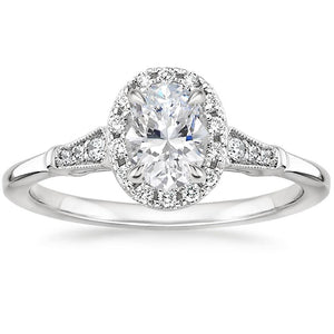Lab-Diamond Vintage Oval Cut Engagement Ring, Available in Different Stone Sizes and Metals
