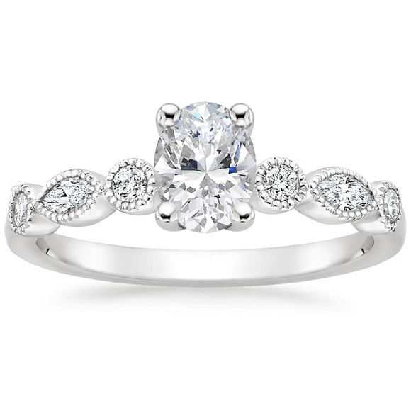 Lab-Diamond Vintage Oval Cut Engagement Ring, Choose Your Stone Size and Metal