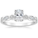 1.40ct Vintage Oval Cut Moissanite  Engagement Ring,  Available in White Gold, Platinum, Rose Gold or Yellow Gold