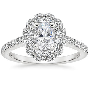 2.00ct Vintage Oval Cut Moissanite Halo Engagement Ring,  Available in White Gold, Platinum, Rose Gold or Yellow Gold