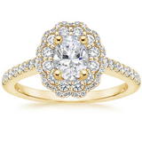 Lab-Diamond Vintage Oval Cut Halo Engagement Ring, Choose Your Stone Size and Metal
