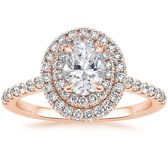 Lab-Diamond Oval Cut Double Halo Engagement Ring, Tiffany Style, Choose Your Stone Size and Metal
