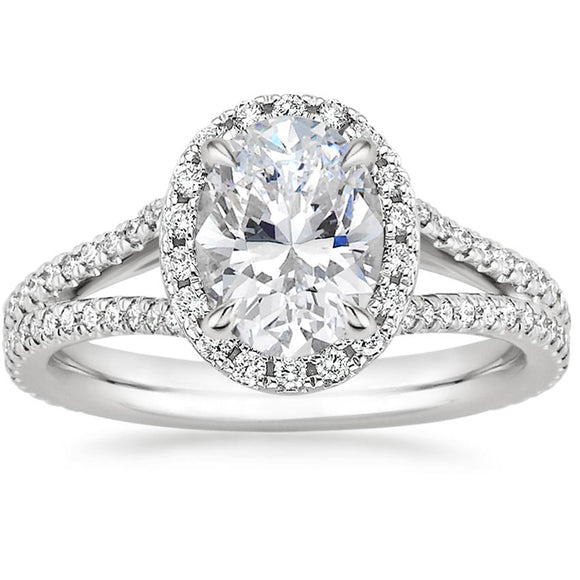2.75ct Oval Cut Moissanite, Classic Halo Engagement Ring, Available in White Gold or Platinum