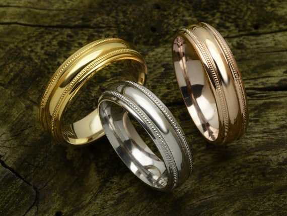 Court Shaped Wedding Band with Millgrain Lines, Bevelled Centre, Polished Finish,  Choose Your Metal & Width