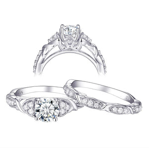1.60ct Vintage Round Cut Diamond Ring, Bridal Ring Set, 925 Sterling Silver