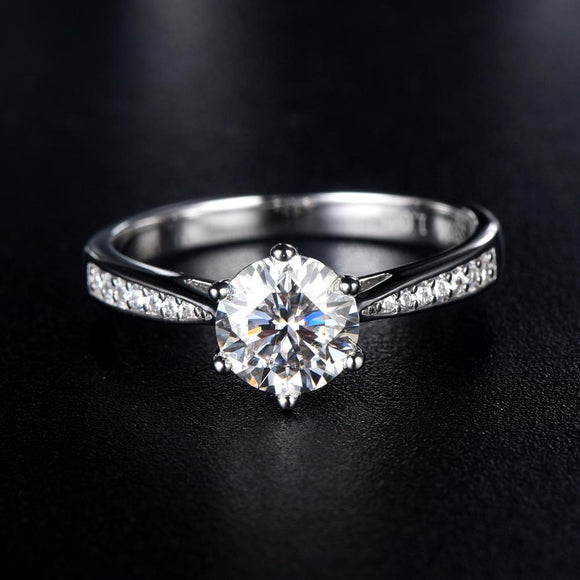 1.00ct Moissanite Engagement Ring, Classic Six Claw with Stone Set Shoulders, Sterling Silver & Platinum