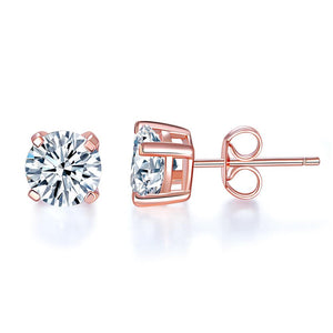 1.00ct each, Rose Gold, Classic Round Cut Diamond Stud Earrings, 925 Sterling Silver