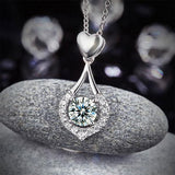 0.70ct Diamond Halo Pendant, Heart Teardrop Diamond Necklace, 925 Silver