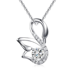 0.50ct Diamond Swan Pendant, Bridal Swan Diamond Necklace, 925 Silver