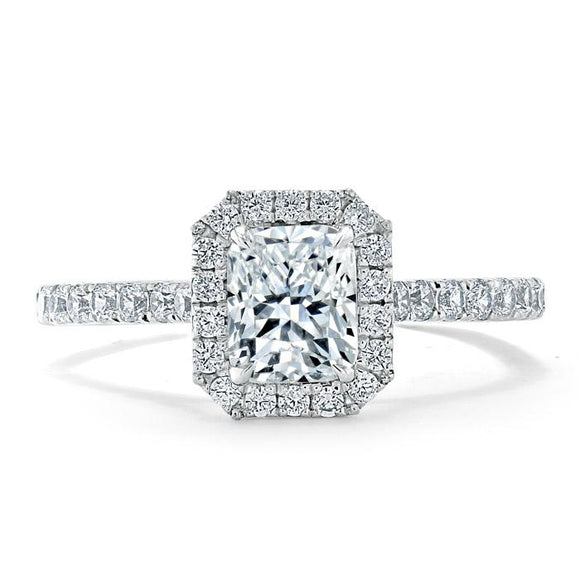 Lab-Diamond Radiant Cut Halo Engagement Ring, Classic Style, Choose Your Stone Size and Metal