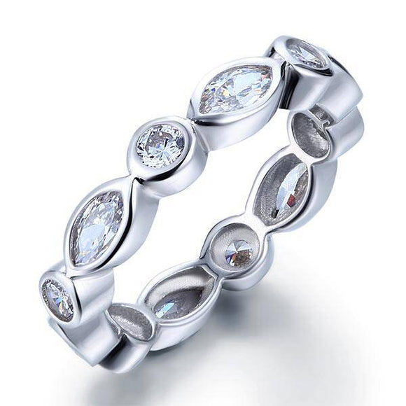 1.50ct Marquise Cut, Full Diamond Eternity Ring, 925 Sterling Silver