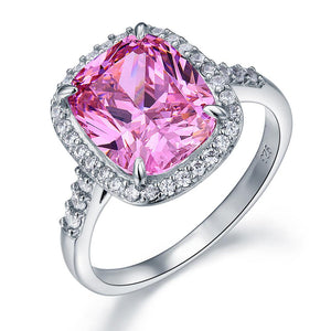 6.00ct Classic Cushion Cut Pink Diamond Halo Engagement Ring, Diamond Shoulders, 925 Silver