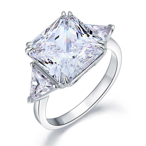 8.00ct Classic Radiant Cut Diamond Engagement Ring, 925 Silver