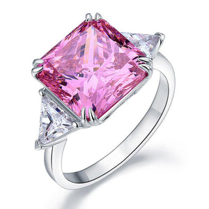 8.00ct Classic Radiant Cut Pink Diamond Engagement Ring, 925 Silver