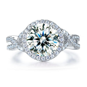 3.00ct Diamond Twist Engagement Ring, Round Brilliant Cut, 925 Silver
