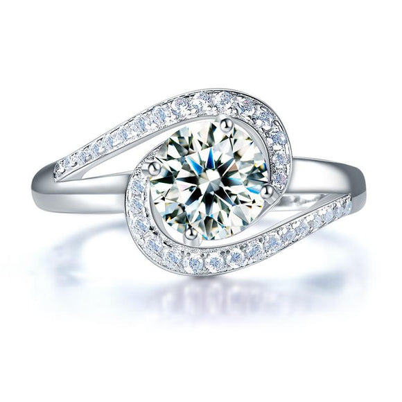 1.25ct Diamond Twist, Round Brilliant Cut Engagement Ring, 925 Sterling Silver
