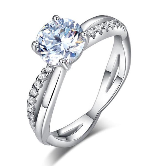 1.50ct Diamond Engagement Ring, Twisted Band, 925 Sterling Silver