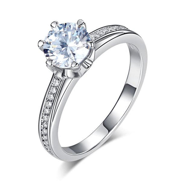 1.25ct Classic Round Cut Diamond Solitaire, 925 Sterling Silver Engagement Ring