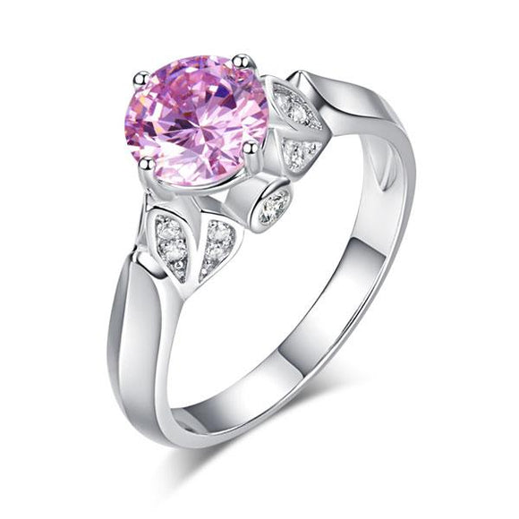 1.25ct  Vintage Pink Diamond Ring, Round Brilliant Cut Engagement Ring
