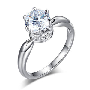 1.25ct Classic Round Brilliant Cut Diamond Engagement Ring, 925 Sterling Silver
