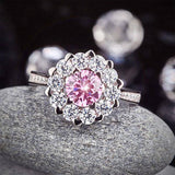 2.2ct Pink Diamond Halo Engagement Ring, Round Brilliant Cut, 925 Silver