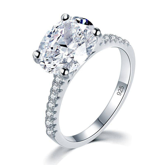 4.00ct Classic Oval Cut Diamond Engagement Ring, 925 Sterling Silver