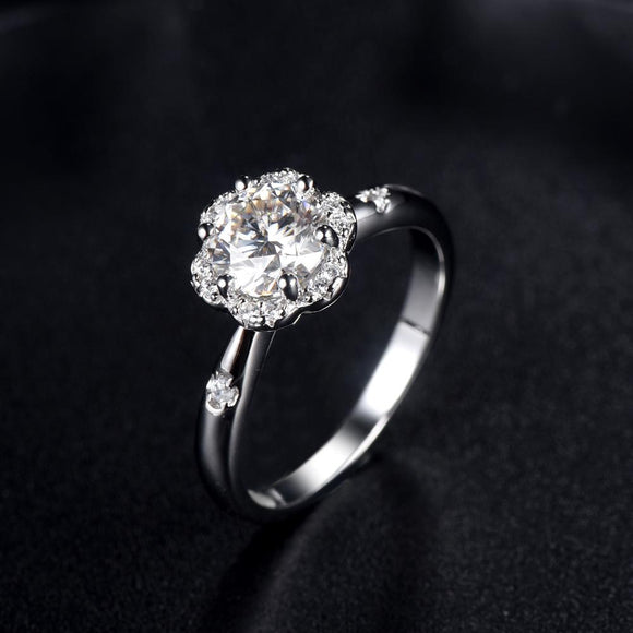 1.00ct Moissanite Engagement Ring, Daisy Halo Design, Sterling Silver & Platinum