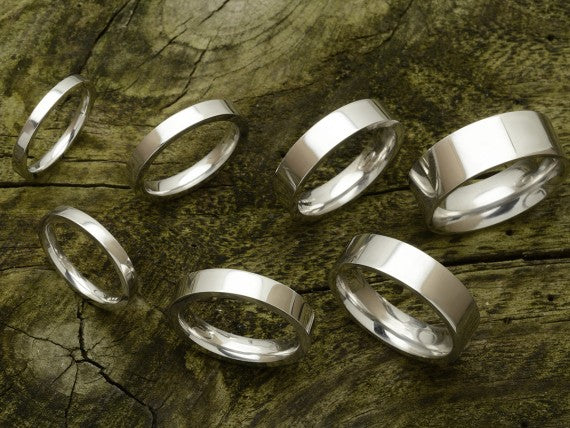 Flat Court Shaped Wedding Band, Polished Finish,  Choose Your Metal & Width