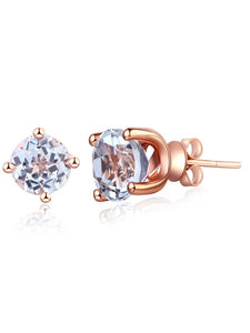 2.50ct each, Round Cut White Topaz Earrings, 14kt Rose Gold