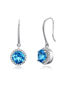 1.55ct each, Round Cut Blue Topaz and Diamond Earrings, 14kt White Gold