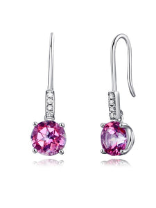 2.50ct each, Round Cut Pink Topaz Earrings, Gemstone and Diamond Earrings, 14kt White Gold