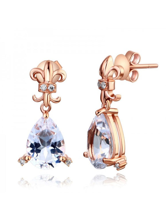 3.50ct each, Vintage Pear Cut White Topaz and Diamond Earrings, 14kt Rose Gold