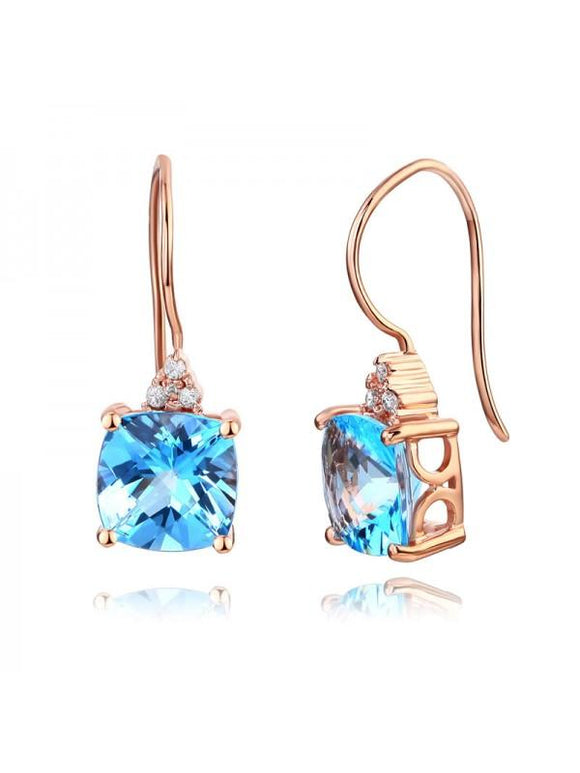 2.50ct each, Round Cut Blue Topaz and Diamond Earrings, 14kt Rose Gold