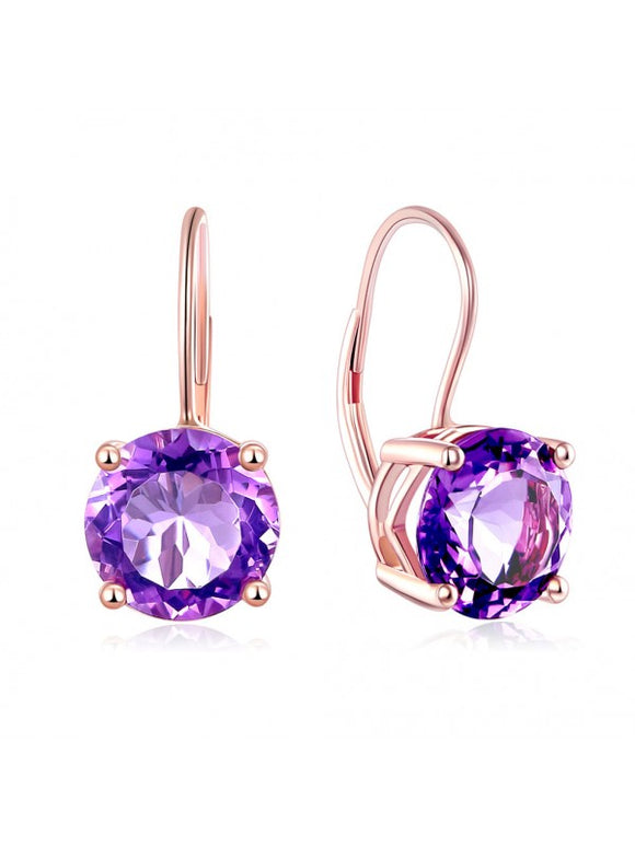 2.00ct each, Round Cut Amethyst Drop Earrings, 14kt Rose Gold