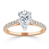 1.25ct Pear Cut Moissanite Engagement Ring, Classic Style, Available in White Gold, Platinum, Rose Gold or Yellow Gold