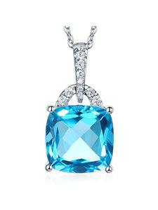 4.00ct Cushion Cut Blue Topaz Pendant, Gemstone and Diamond Necklace, 14kt White Gold