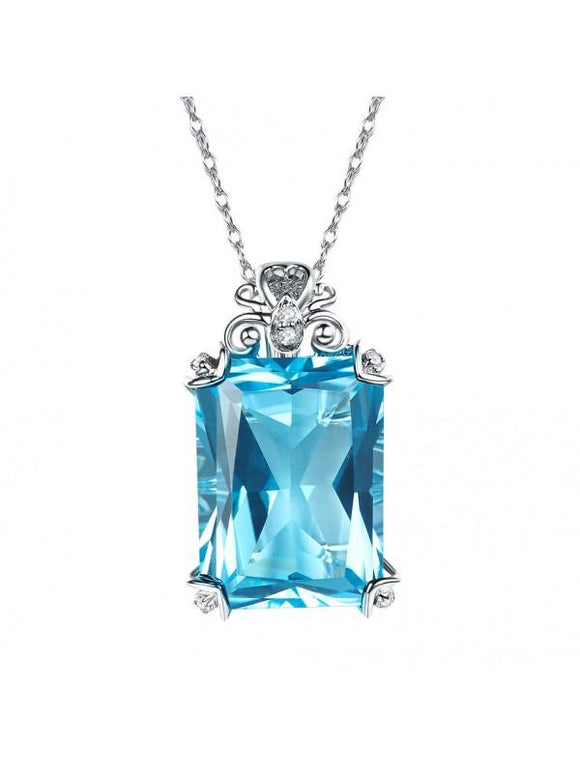 12.75ct Luxury Emerald Cut Blue Topaz Pendant, Gemstone and Diamond Necklace, 14kt White Gold