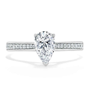 1.20ct Pear Cut Moissanite Engagement Ring, Classic Style, Available in White Gold, Platinum, Rose Gold or Yellow Gold