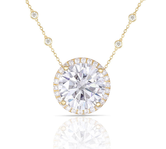 5.00ct Round Cut Moissanite Halo Necklace, Rubover Diamond Chain, 14Kt 585 Yellow Gold