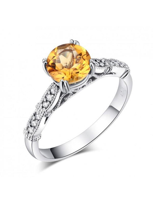 1.20ct Round Cut Citrine Engagement Ring, Available in 14kt or 18kt White, Yellow or Rose Gold