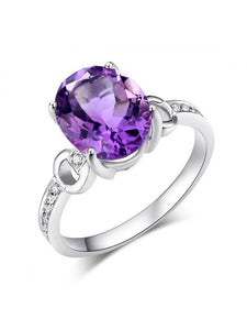 3.50ct Oval Cut Amethyst Engagement Ring, Available in 14kt or 18kt White, Yellow or Rose Gold